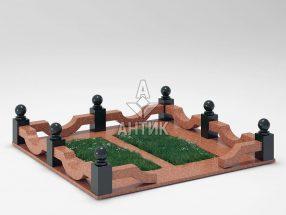 Ограда на могилу COGM-01-09 Лезниковский гранит фото