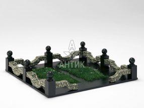 Ограда на могилу COGM-01-10 Луковецкий анортозит фото