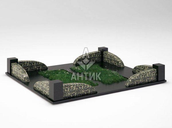 Ограда на могилу COGM-31-10 Луковецкий анортозит фото