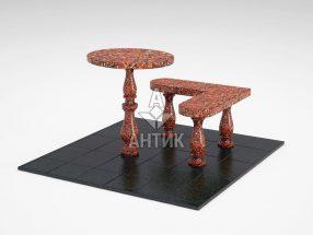 Стол и лавка STOLAV-002-05 Капустинский гранит фото